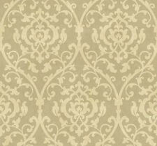 York Wallcovering Antonina Vella Designer Khaki Tan Damask Vintage Wallpaper Diy