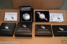 2014 P National Baseball Hall PROOF SILVER $1 + 2014 S PROOF CLAD Half 2 Coins