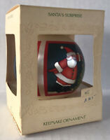 "Vintage Hallmark Keepsake Ornament 1981 Christmas Satin Ball ""Santa's Surprise"""