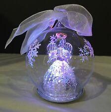 NIB Glass Illuminated Christmas Tree Angel Ornament W Timer Multicolor White