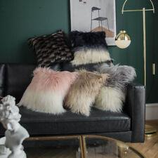 """18"""" Soft Long Fur Square Throw Pillow Cases Waist Shaggy Cushion Sofa Pad Cover"""