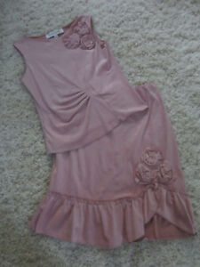 MONKEY WEAR Neiman Marcus Pink Suede Like Outfit Skirt Set Sz 12 Worn Once $$$$