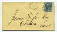 1870s Fowlersville Michigan 3 cent grilled banknote #136 [y3325]