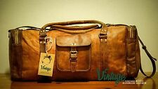 NEW Vintage Handmade Goat Leather Duffle Bag,Gym Bag,Overnight Bag Square 24''