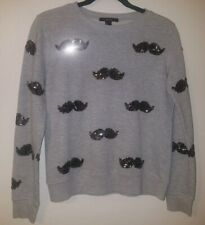 Forever 21 Women's Sweater Small Gray Long Sleeve Mustache Sequins Embellished