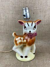 Vintage 1950s Deer Fawn Doe Bambi Ceramic Nursery Lamp