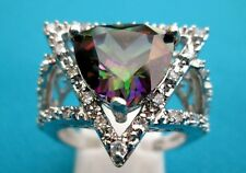 Gorgeous Silver Ring With Natural Trillion Rainbow Topaz Size Q, US 8  (rg1260)