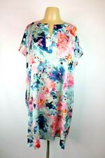 LIZ CLAIBORNE Abstract Floral Silky Negligee Nightgown Sleep Shirt Dress Sz XL