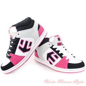 Damen Schuhe ETNIES Sneaker Turnschuhe ROOKIE Skate schwarz pink grau Leder NEU
