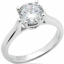 2.01 carat Round cut Diamond Engagement Solitaire Ring 14k White Gold H SI2
