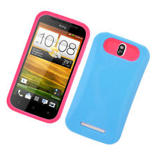 For HTC One SV TPU Candy HYBRID GLOW Case Phone Cover Blue Hot Pink