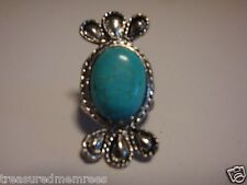 New Turquoise Ring  ~ Distressed Vintage Silver Tone ~ Style #412 ~ Size 9