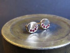 14K yellow gold earrings with Ruby.14k stud gold earrings with Ruby. Handmade
