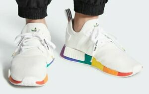 Adidas NMD R1 Mens Running Shoes White Rainbow Pride FY9024