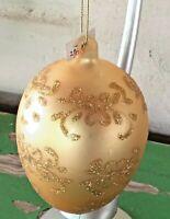 Vtg Large Gold Jeweled Glittered Gold Satin Glass Egg Shaped Christmas Ornament