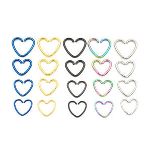 Steel Heart Ring Piercing Hoop Earring Helix Cartilage Tragus Daith Rook 16g