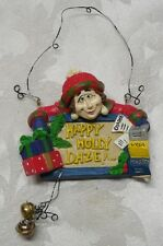 Happy Holly Daze Christmas Ornament Charge Card Presents Maxed Out Snowball Red