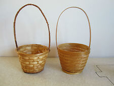 Lot of 2 Brown Baskets w/ Handles Wicker Woven Crafts Garden Home Decor Floral