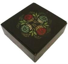 Antique Black / Red & Green  Folk Art Tole Handpainted Painted Wooden Box