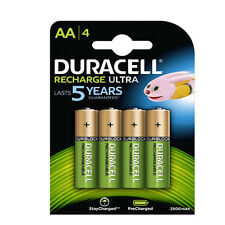 4 PILES ACCUS DURACELL RECHARGEABLE AA LR06 1.2V 2500mAh Ni-Mh BATTERY BATTERIE