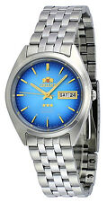 Orient FAB0000AL Men's 3 Star Stainless Steel Day Date Blue Dial Automatic Watch