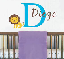 Custom Name Wall Decal with King of the Jungle Lion Sticker Art for Nursery Room