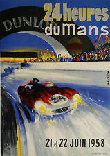 Reproduction Motor Racing Poster, Le Mans 24 Hour - 1958, Home Wall Art