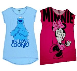 Juniors Sleep Shirt  Nightgown  Disney Minnie Mouse  Cookie Monster   NWT