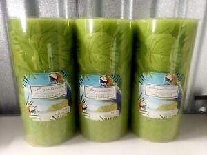 Yankee Candle Margaritaville Lime & Sea Salt 3 x 6 Pillar lot of three Free Ship
