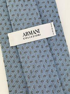 """ARMANI Mens Tie Necktie COLLEZIONI Italy 100% Silk 58"""" Blue Gray Diamonds Dots"""