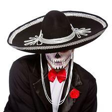 Adult Black Sombrero Hat Fancy Dress Accessory Day of The Dead Mexican Amigo