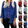 Plus Size Womens Long Sleeve Plaid Button Down Shirt Tops Ladies Casual Blouse
