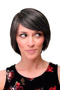 Ladies' Wig Smooth Short Natural Dark Grey Flecked Side Part 6082
