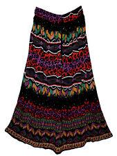 Indian Print Long  Boho Skirt Size Free Elastic Waist Maxi Usa Broomstick Women