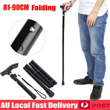 Adjustable Walking Stick Travel Retractable Hiking Folding Cane Metal Pole Black