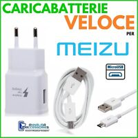 CARICABATTERIE VELOCE FAST CHARGER per MEIZU M6S PRESA MURO + CAVO MICRO USB
