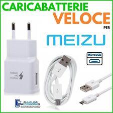 CARICABATTERIE VELOCE FAST CHARGER per MEIZU MX5 PRESA MURO + CAVO MICRO USB
