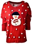 Women's Cute SNOWMAN Snow Holiday Party Ugly Christmas Xmas Sweater Sz XL A922