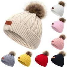 Toddler Kids Warm Knitted Fur Pom Beanie Caps Baby Boys Girls Bobble Hat Winter