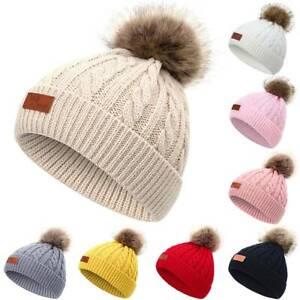 Children Baby Kid Winter Warm Knitted Fur Pom Bobble Hat Kids Beanie Cap HOT.
