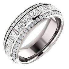 Princess Eternity 925 Sterling Silver Round White Stone Wedding Women's Band
