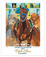 8 X 10 American Pharoah Commemorative Art Print Wording Triple Crown  SFASTUDIO
