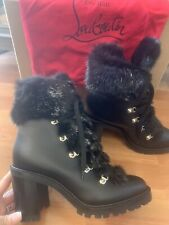 New Christian Louboutin Limited Fanny 70 Black Leather Fur Combat Heel Boots 40