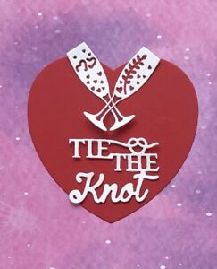 3 Sets of Tie The Knot + Champagne Glasses Wedding White Card Toppers 9 pieces