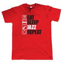 Eat Sleep Jazz Repeat, Mens Funny Music T Shirt, Gift Dad
