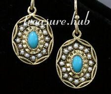 CE042 EXQUISITE 9ct Yellow Gold NATURAL Turquoise & Pearl Oval Drop Earrings