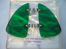 NEW PAIR OF GREEN COLORED VINTAGE STYLE AIR VENT DEFLECTORS !