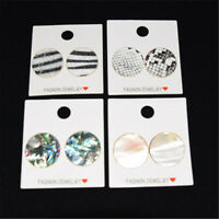 1 Pair Round Abalone White Shell Leopard Stud Earrings Women Charm Jewelry Gift