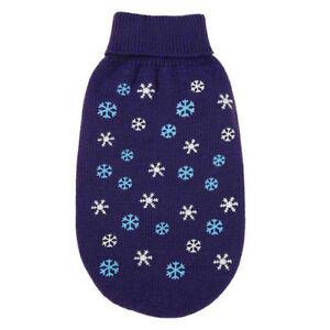 Flurry Puppy Dog Sweater Coat Jacket Winter Snowflake Holiday Deep Purple LARGE