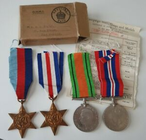 WW2 France & Germany Star Medal Group x4 Medals & Box of Issue, Port Sunlight